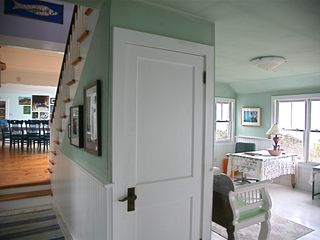 Chilmark cottage photo - the stairs down to a den and laundry and groundlevel beach access.