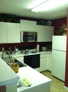 Kitchen equipped with stove, microwave, dishwasher and refrigerator