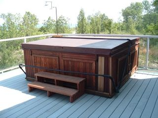 Michigan City house photo - Enjoy the view in this relaxing hot tub