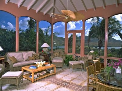 St. Croix villa rental - SCREENED PORCH - Lounging & Dining- accommodates six people for both.