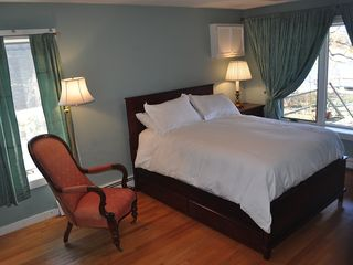 East Quogue house photo - Bedroom with view onto bay, on ground floor with full bed and trundle