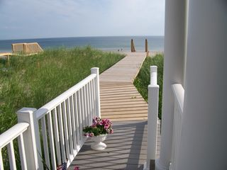 East Sandwich house photo - Walkway To Private Beach From Deck