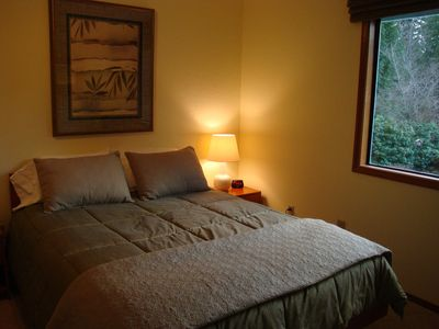 Second Bedroom with Queen Bed Overlooking the Pond & Waterfall