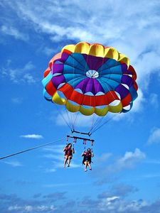 Parasailing available on the beach for thrill-seekers.