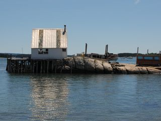 Deer Isle - Stonington house photo - Lobster shack from house beach at high tide