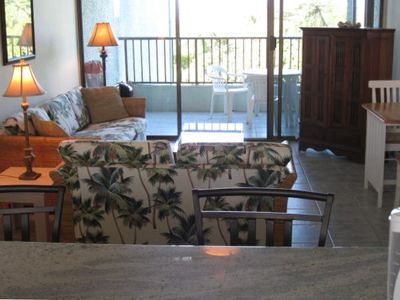 Keaukaha condo rental - Living area looking out to Lanai