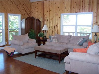Beautiful Great Room with vaulted ceilings and wrap around covered decks