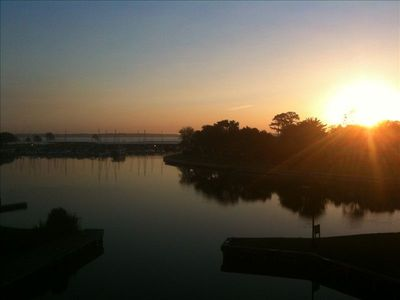 Breathtaking view of the lake at sunrise from the condo balcony - unbelievable!