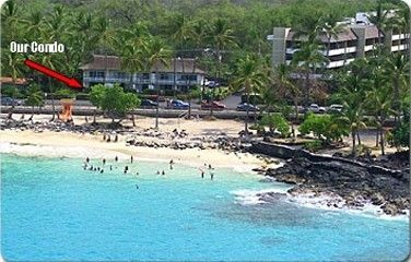 "AERIAL VIEW OF OUR KONA ""MAGIC SANDS BEACH'. CONDO IN BACKGROUND"