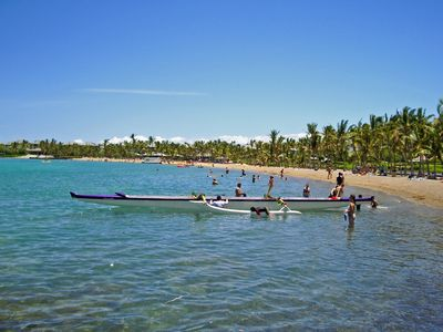 ʻAnaehoʻomalu Bay, a.k.a. A-Bay is a palm fringed shallow water bay in Kohala.
