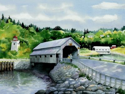 St. Martins covered bridges, watercolor by Kathi D