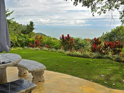 Main house patio with massive view of ocean and sunsets