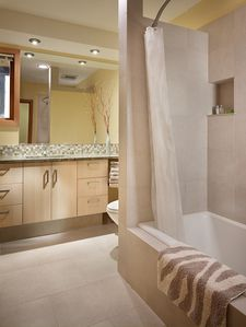 Guest bathroom with heated floors, Anne Sacks tile, towel warmers