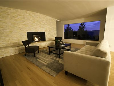 Living Room at Twilight with Fireplace