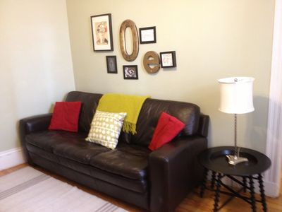 Boston condo rental - Living Room With A Leather Sofa