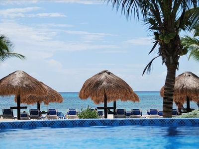 Cozumel condo rental - View from our private pool looking out to the beautiful Caribbean ocean.