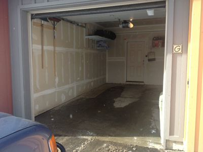 Interior of garage.  Door leads directly into the unit.