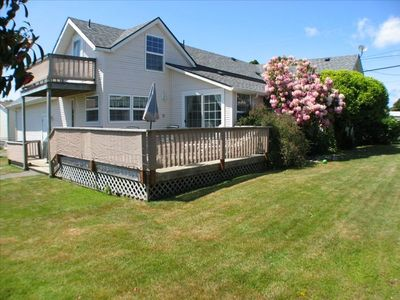 Backyard -  Completely Fenced with BBQ and Private Deck off of Kitcken!
