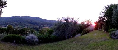 Finish each day watching the sunset into the Tuscan valley below