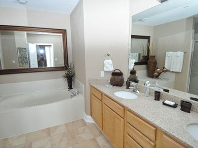 Master Bathroom / Walk-in Shower jacuzzi tub and dual sinks