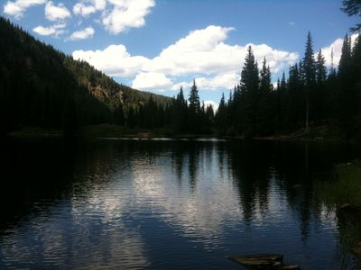 Beaver Lake in summer. A hiking highlight and fishing.
