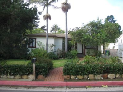 Front of House Facing Santa Cruz Blvd, a quiet street with little traffic.