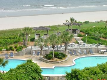 Amelia Island condo rental - SWIMMING POOL AND OCEAN VIEW FROM BALCONY-Pool is open.