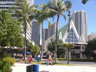 Honolulu condo photo - From Waikiki Beach look at Banyan building