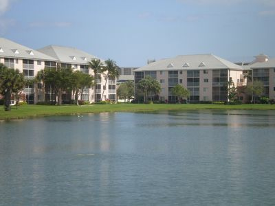 Our Condos view of Lake. From our patio,you get the best Sunsets in Florida