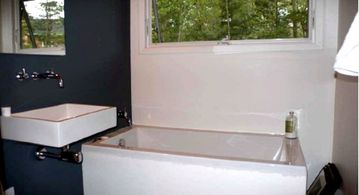 Bathroom. Large soaking tub with picture window.