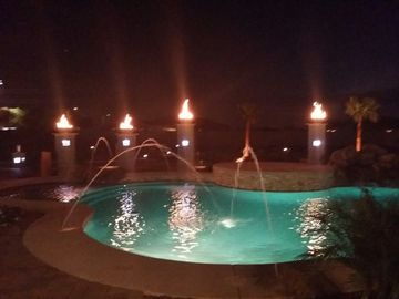 Peoria house rental - 50,000 gallon pool and spa with fire pots and fire pit.