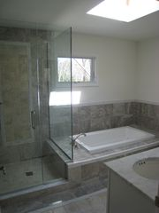 East Hampton house photo - new master bath w double sink, skylight, jacuzzi