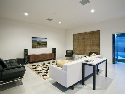 Great room.  60' TV, Polk speakers + sub, Denon receiver. In-ceiling surround.