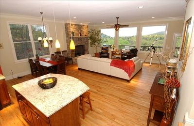 Expansive great room with view back to Stone Mtn. on a clear day