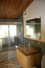 Jeffersonville house photo - Bathroom with Vermont slate and vessel sink