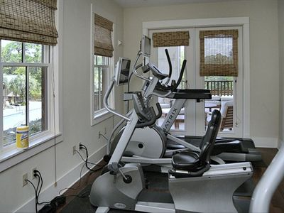 Fitness Room with pool view; adjacent to community room.