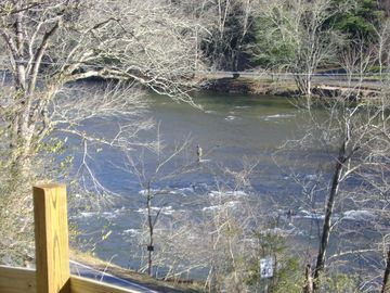 Sylva cabin rental - View of Tuckaseegee River from cabin's front porch.