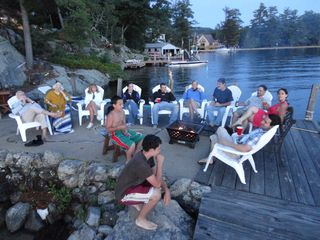 Gilford house photo - large seating capacity on dock. Even room for Dinner! ENJOY THE VIEW