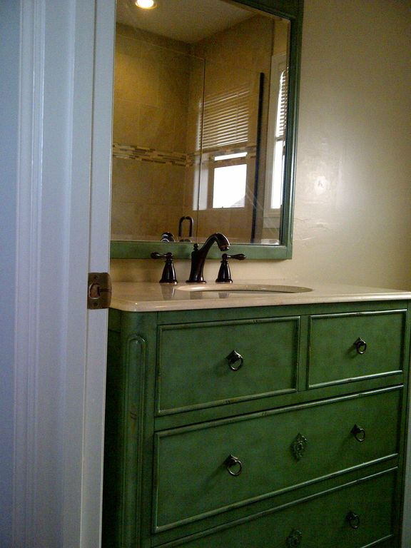 New vanity, fixtures, tiled shower & floor w/glass doors in master bath (2012)