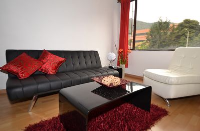 Bogota apartment rental - Comfortable living area with views of the mountains