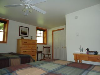 Lake Placid townhome photo - Lower Level Bedroom with Plasma TV (2 Queen Beds)
