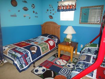 Upstairs boys sports themed bedroom 1st angle