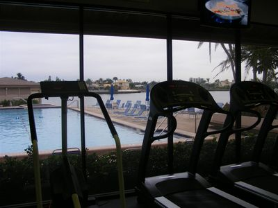 Your view from the gym. Watch the activity at the pool or boats navigate the ICW