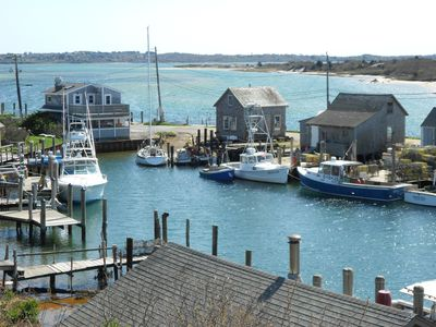 View from Menemsha Harbor to Menemsha Pond