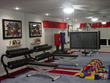 Gym with mirrored wall...