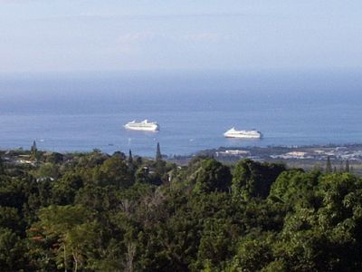 Cruise ships in harbor from upper lanai.