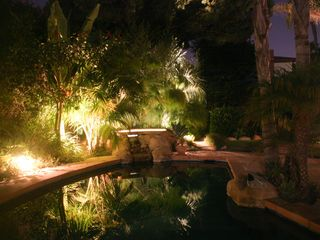 Santa Barbara house photo - Romantic evening landscape lighting. Spa-side speakers for music while you soak.