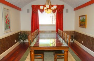 Dining Room: Massive hand made table, seats 14