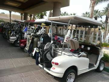 Clubhouse golf cart line-up