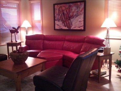 Relax and Enjoy in the upstairs family room! Original artwork by Debra Martin.